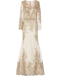Notte by Marchesa | Metallic Embroidered Tulle Gown | Lyst