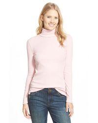 Lauren by Ralph Lauren - Pink Faux Suede Trim Cotton Turtleneck - Lyst