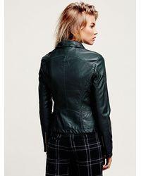 Free People Green Vegan Leather Hooded Biker Jacket