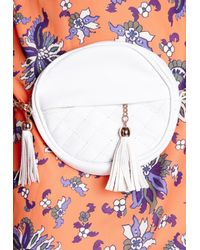 Missguided - Quilted Round Tassel Bag White - Lyst