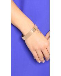 Michael Kors Pink Etched Logo Hinge Cuff Bracelet - Rose Gold