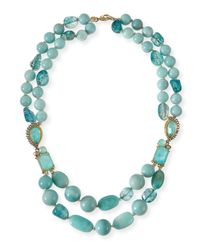 Alexis Bittar Gilded Muse Dore Blue Sponge Bead Necklace