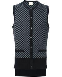 Wooster + Lardini - Gray Checkboard Intarsia Sleeveless Cardigan for Men - Lyst