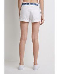 Forever 21 | White Gingham Belt Shorts | Lyst