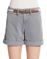 Saks Fifth Avenue | Gray Belted Cuff Shorts | Lyst