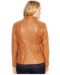 Michael Kors Brown Michael Plus Size Leather Buckle-Collar Motorcycle Jacket