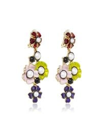 Oscar de la Renta | Multicolor Flower Pearl Drop Earring | Lyst