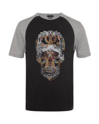 Alexander McQueen Black Raglan Skull T-shirt for men