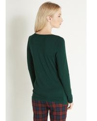 Oasis Green Long Sleeved Clean Crew Neck Top