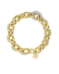 David Yurman | Metallic Oval Large Link Bracelet With Diamonds In 18k Gold | Lyst