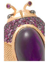 Daniela Villegas - Multicolor 18-karat Rose Gold Amethyst, Ruby And Sapphire Ring - Lyst