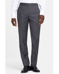 Armani | Gray 'giorgio' Flat Front Wool Trousers for Men | Lyst
