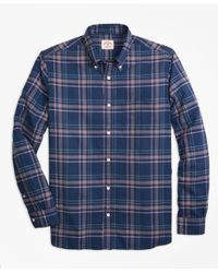 Lyst brooks brothers madras sport shirt in blue for men for Brooks brothers tall shirts