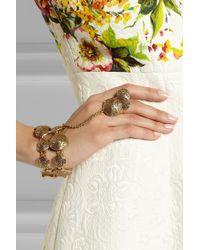 Oscar de la Renta - Metallic Swirl Gold-Plated Finger Bracelet - Lyst