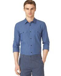 Calvin Klein | Blue Modern Fit End-on-end Slub Sportshirt for Men | Lyst