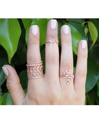 Anne Sisteron | Pink 14kt Rose Gold Diamond Mini Lattice Ring | Lyst