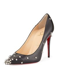 Christian Louboutin - Black Degraspike Studded Leather Red Sole Pump - Lyst