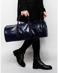 ASOS | Blue Barrel Bag With Crocodile Effect for Men | Lyst