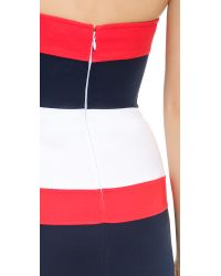 DSquared² Blue Colorblock Strapless Dress