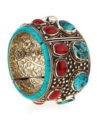 Devon Leigh - Blue Turquoise & Coral Cuff Bracelet - Lyst