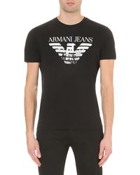 Armani Jeans | Black Eagle City Stretch-cotton T-shirt for Men | Lyst