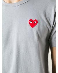 Play Comme des Garçons Gray Logo-Appliqué Cotton T-Shirt for men
