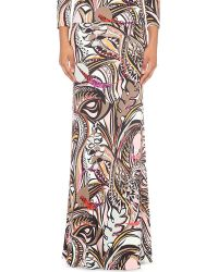 Emilio Pucci - Natural Abstract-print Jersey Maxi Skirt - Lyst
