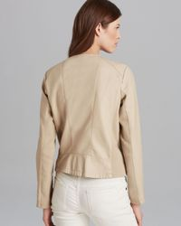 Calvin Klein Brown Collarless Moto Jacket