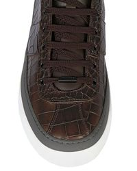 Jimmy Choo Brown Croc Embossed Leather High Top Sneakers for men