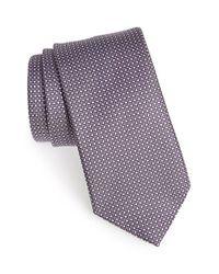 Ermenegildo Zegna Purple Geometric Silk Tie for men
