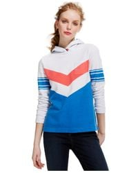 Tommy Hilfiger | Blue Chevron Stripe Colorblock Hoodie | Lyst
