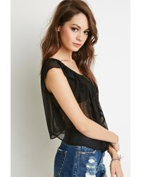 Forever 21 | Black Embroidered Chiffon Off-the-shoulder Top | Lyst