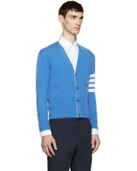 Thom Browne - Blue Cashmere Striped Armband Cardigan for Men - Lyst