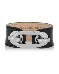 Balenciaga - Black Palladium-tone Karung Cuff - Lyst