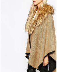 Oasis - Natural Faux Fur Reversible Wrap Cape - Lyst