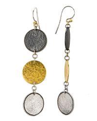 Gurhan | Metallic Contour Three-tone Drop Earrings | Lyst