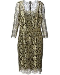 Dolce & Gabbana - Metallic Floral Lace Dress - Lyst