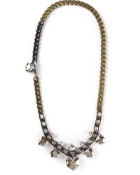 Lanvin | Metallic Long Chain Crystal Necklace | Lyst