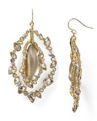 Alexis Bittar Metallic Lucite Jagged Edge Crystal Framed Orbital Wire Earrings