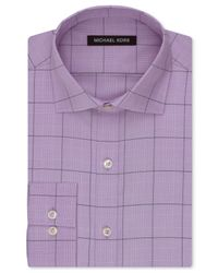 Michael Kors - Purple Lilac Open Check Dress Shirt for Men - Lyst