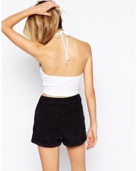 ASOS | White The Halter Neck Crop Top In Rib | Lyst