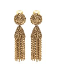 Oscar de la Renta - Metallic Tassel Clip-on Earrings - Lyst
