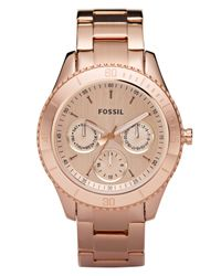 Fossil - Pink Women'S Stella Rose Gold-Tone Stainless Steel Bracelet Watch 37Mm Es2859 - Lyst