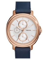 Fossil | Blue 'chelsey' Crystal Bezel Multifunction Leather Strap Watch | Lyst