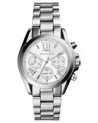 Michael Kors - Metallic Women'S Chronograph Mini Bradshaw Stainless Steel Bracelet Watch 36Mm Mk6174 - Lyst