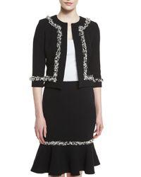 Carolina Herrera - Black Tweed-fringe Heavy Crepe Jacket - Lyst