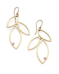 Zoe Chicco Metallic Diamond & 14k Gold Petal Drop Earrings