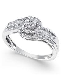 Macy's - Metallic Diamond Swirl Ring (1/4 Ct. T.w.) In 10k White Or Yellow Gold, Size 5-10 - Lyst