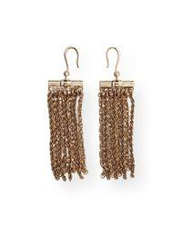 Lanvin - Metallic Golden Fringe Drop Earrings - Lyst