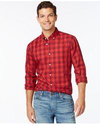 Tommy Hilfiger | Red Stevenson Plaid Long-sleeve Shirt for Men | Lyst